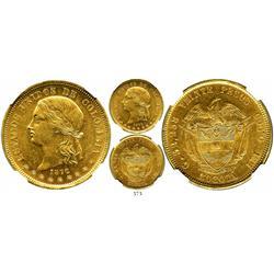Bogota, Colombia, 20 pesos, 1872, encapsulated NGC AU-58.