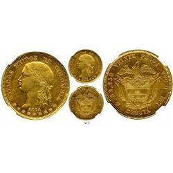 Bogota, Colombia, 20 pesos, 1874, encapsulated NGC AU-53.