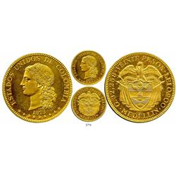 Medellin, Colombia, two-piece (obverse and reverse fused together at the mint) proof gilt-bronze tri
