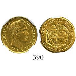 Medellin, Colombia, 2-1/2 pesos, 1919-A (Antioquia), encapsulated NGC AU-58.