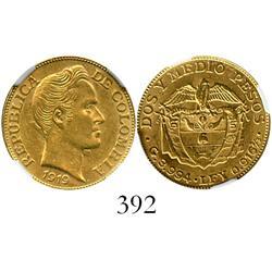 Bogota, Colombia, 2-1/2 pesos, 1919, encapsulated NGC MS-61.