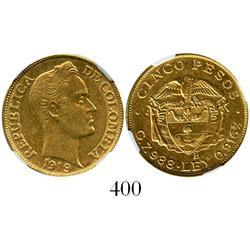 Bogota, Colombia, 5 pesos, 1919-B, encapsulated NGC AU-58.