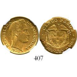 Medellin, Colombia, 5 pesos, 1920, encapsulated NGC AU-58.