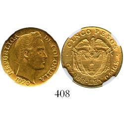 Medellin, Colombia, 5 pesos, 1920-A (Antioquia), encapsulated NGC AU-58.