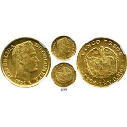 Medellin, Colombia, 5 pesos, 1921-A (Antioquia), encapsulated NGC MS-62, rare.