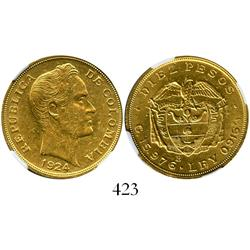 Bogota, Colombia, 10 pesos, 1924-B, encapsulated NGC AU-58.