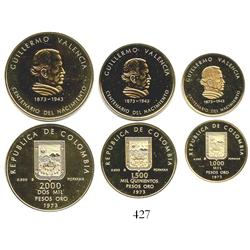 Colombia, 1973 Guillermo Valencia Centennial Commemorative set of 1000, 1500 and 2000 pesos proofs (