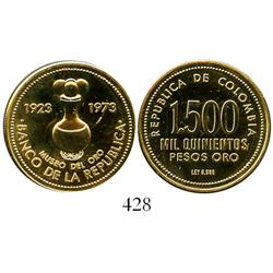 "Colombia, 1973 Bank of the Republic 50th Anniversary Commemorative (""Urn"") 1500 pesos proof in origi"
