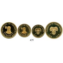 Colombia, 1975 Santa Marta 450th Anniversary Commemorative set of 1000 and 2000 pesos proofs (2 coin
