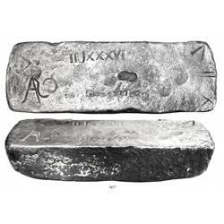 Large silver bar #893, Class Factor 0.8, 73 lb 5.92 oz troy.