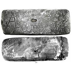 Large silver bar #197, Class Factor 1.0, approx. 60 lb troy (pieces removed from bottom).