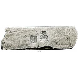 Silver bar, 1740 grams, about 98.5% fine, with stamps of the Middelburg chamber of the VOC (Dutch Ea