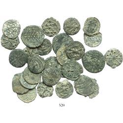 Lot of 30 Portuguese Malaccan tin coins, Manuel I (1495-1521).