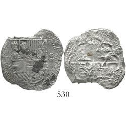 Toledo, Spain, cob 4 reales, Philip II, assayer M-in-circle.