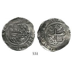 Mexico City, Mexico, cob 4 reales, Philip II, assayer O to right, scarce.