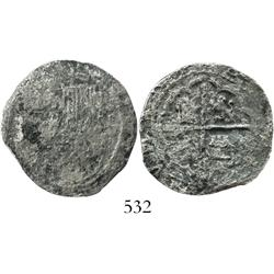 Lima, Peru, cob 2 reales, Philip II, *-oD to right.
