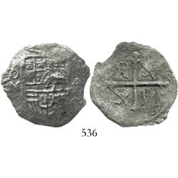 Mexico City, Mexico, cob 4 reales, Philip III, assayer not visible, Grade-2 . (cert. found)