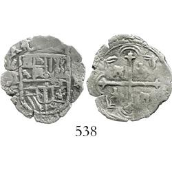 Mexico City, Mexico, cob 1 real, Philip II or III, assayers F and (oD), very rare, especially from t