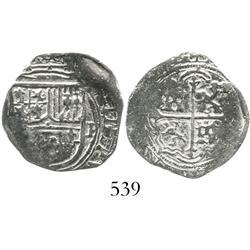 Mexico City, Mexico, cob 1 real, Philip III, assayer F to right, Grade 2(+), rare denomination for t