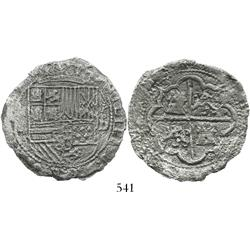 Lima, Peru, cob 8 reales, Philip II, assayer Diego de la Torre, P-oD to right, Grade-2 or 3 quality