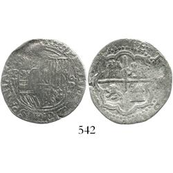 Lima, Peru, cob 2 reales, Philip II, assayer Diego de la Torre, P-ii to left, oD-* to right, Grade-2