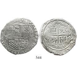 Potosi, Bolivia, cob 8 reales, Philip II, assayer B (3rd period), Grade-1 quality but Grade 2 on cer