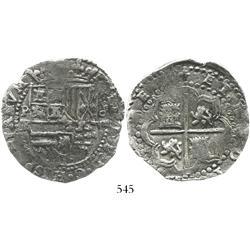 Potosi, Bolivia, cob 8 reales, Philip II, assayer RL, Grade 1.