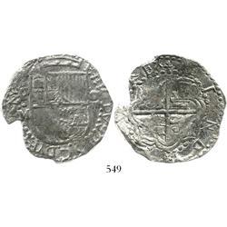 Potosi, Bolivia, cob 8 reales, Philip III, assayer M, Grade-1 quality but Grade 2 on certificate.