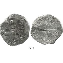 Potosi, Bolivia, cob 8 reales, (161)7M, date at 8 o'clock, Grade 1.