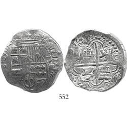 Potosi, Bolivia, cob 8 reales, 1618PAL, rare, Grade 1.