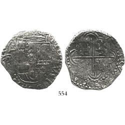 Potosi, Bolivia, cob 8 reales, 16(18)PAL, rare, Grade-2 with original certificate (found)