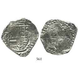Potosi, Bolivia, cob 8 reales, 1620T, upper half of shield and quadrants of cross transposed, Grade
