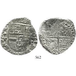 Potosi, Bolivia, cob 8 reales, 1621T, Grade 1.