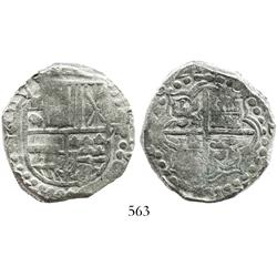 Potosi, Bolivia, cob 8 reales, 1621T, quadrants of cross transposed, Grade-1 quality, erroneous cert