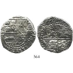 Potosi, Bolivia, cob 8 reales, (16)22T, rare, lions and castles transposed in two places, Grade 1.