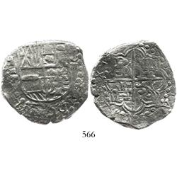 "Potosi, Bolivia, cob 8 reales, Philip III, assayer T, ""triple reversal"" with backward mintmark P, up"