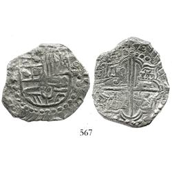 Potosi, Bolivia, cob 8 reales, Philip III, assayer T, quadrants of cross transposed, contemporary te