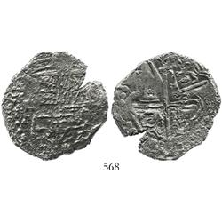 Potosi, Bolivia, cob 8 reales, Philip III, assayer T, Grade-2(-) quality (no Grade on certificate).