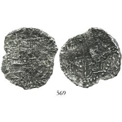"Potosi, Bolivia, cob 8 reales, Philip III, assayer not visible, Grade 3 or 4 (""5 points""), with orig"