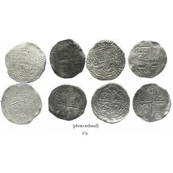 Lot of 4 Potosi, Bolivia, cob 8 reales, Philip III, various assayers (where visible), all Grade 1.