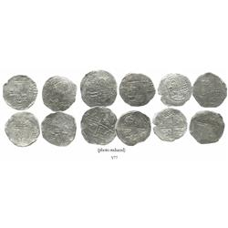 Lot of 6 Potosi, Bolivia, cob 8 reales, Philip III, various assayers (where visible), approx. Gr 1