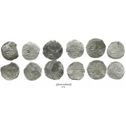 Lot of 6 Potosi, Bolivia, cob 8 reales, Philip III, various assayers (where visible), all Grade 2.