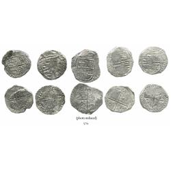Lot of 5 Potosi, Bolivia, cob 8 reales, Philip III, various assayers (where visible), all Grade 2.
