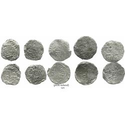 Lot of 5 Potosi, Bolivia, cob 8 reales, Philip III, various assayers (where visible), all Grade 3.
