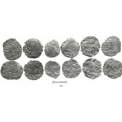 Lot of 6 Potosi, Bolivia, cob 8 reales, Philip III, various assayers (where visible), all Grade 4.