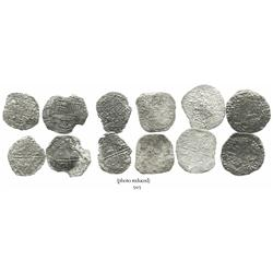 Lot of 6 Potosi, Bolivia, cob 8 reales, Philip III, various assayers (where visible), all approx. Gr