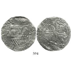 "Potosi, Bolivia, cob 4 reales, Philip II, assayer B (2nd period, ""Great Module""), Grade 1."
