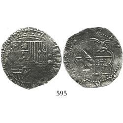 Potosi, Bolivia, cob 4 reales, Philip II, assayer A, scarce, Grade 1.