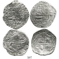 Lot of 2 Potosi, Bolivia, cob 4 reales, Philip II, assayer B (3rd and 5th periods), both Grade 1.