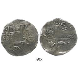 Potosi, Bolivia, cob 4 reales, Philip III, assayer R (curved leg), Grade 1, with promotional wallet